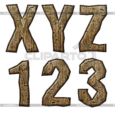 木制的首字母和数字 | 高分辨率插图 |ID 3075508
