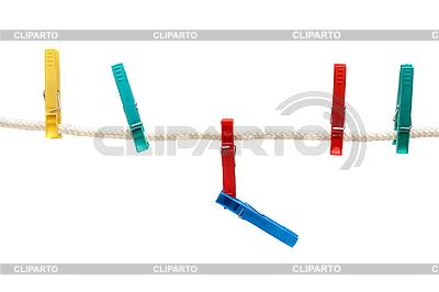 Kolorowe kołki na liny bielizna | Foto stockowe wysokiej rozdzielczości |ID 3050645