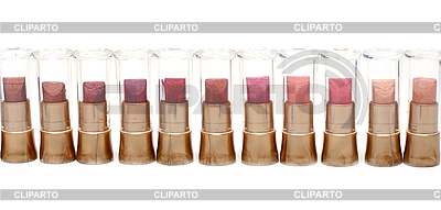 Szminka w walizce z tworzywa sztucznego w linii | Foto stockowe wysokiej rozdzielczości |ID 3050699