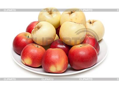 Czerwone i żółte jabłka na talerzu | Foto stockowe wysokiej rozdzielczości |ID 3050718