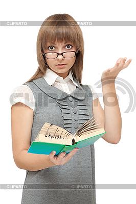 年轻的女孩读英语书 | 高分辨率照片 |ID 3050723