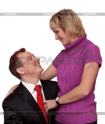Бытовая пара муж и жена на белом фоне