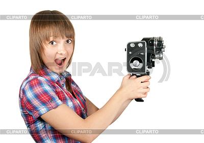 Piękne dziewczyny w kratę koszuli z kamery | Foto stockowe wysokiej rozdzielczości |ID 3308280