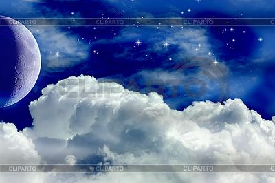 Księżyc, chmury i gwiazdy | Stockowa ilustracja wysokiej rozdzielczości |ID 3049916