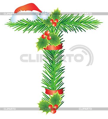 Christmas litera T z gałęzi jodłowych | Klipart wektorowy |ID 3052122