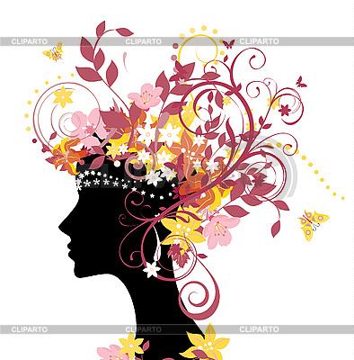 女人与花 | 向量插图 |ID 3074626