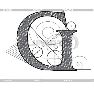 Dekoracyjny rysunek pierwsza litera G | Klipart wektorowy |ID 3077884
