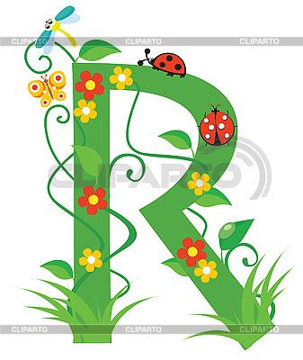 Decorative letter for design  R Letter In Flower