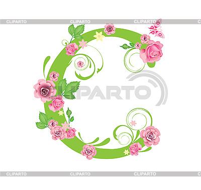 Dekorativer Buchstabe C mit Rosen | Stock Vektorgrafik |ID 3078433