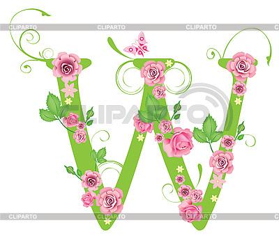 Dekorativer Buchstabe W mit Rosen | Stock Vektorgrafik |ID 3078473