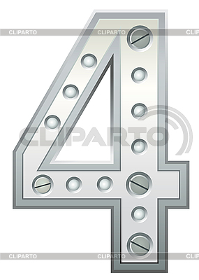 Metallische Ziffer Vier | Stock Vektorgrafik |ID 3078493