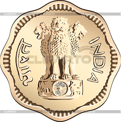 Indian Geld Münze mit nationalen Symbol | Stock Vektorgrafik |ID 3049295