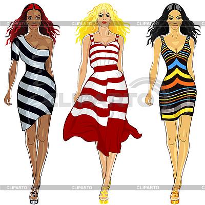 스트라이프 드레스에서 아름 다운 여자의 설정 | 벡터 클립 아트 |ID 3059003