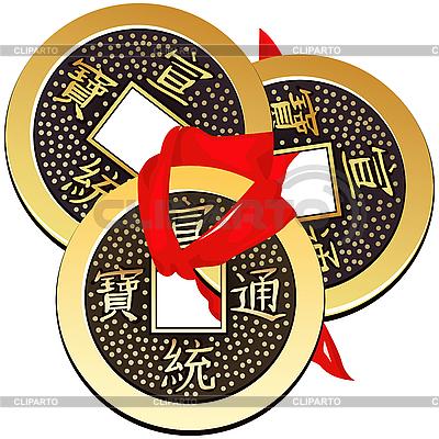 Trzy starożytne chińskie monety Feng Shui związany z czerwoną wstążką | Klipart wektorowy |ID 3059033