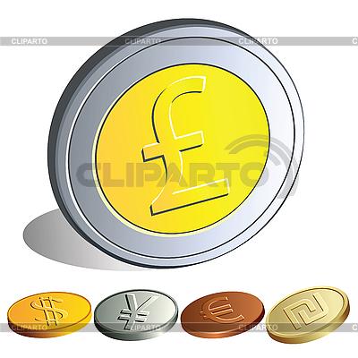 Monety z symbolami głównych walut | Klipart wektorowy |ID 3060118