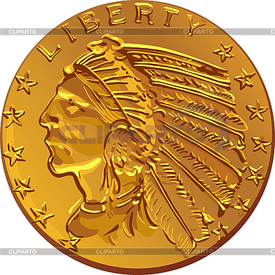 Amerikanische Goldmünze Dollar | Stock Vektorgrafik |ID 3061416