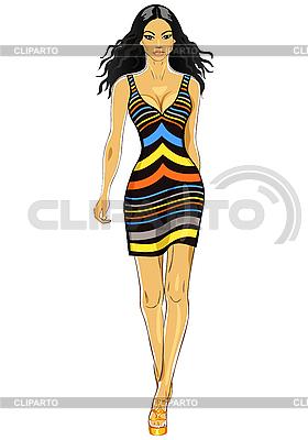 Piękne azjatyckie dziewczyny w sukience w paski | Klipart wektorowy |ID 3063293