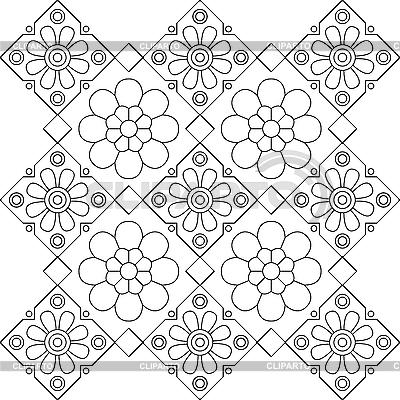 Schwarzweißes Blumenmuster | Stock Vektorgrafik |ID 3070019