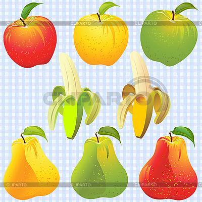 Owoce - jabłka, gruszki i banana | Klipart wektorowy |ID 3079412