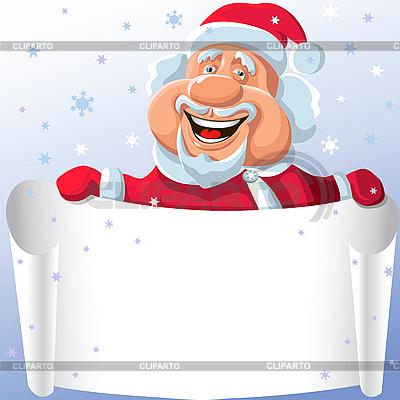 Święty Mikołaj z papieru przewijania w dłoniach | Klipart wektorowy |ID 3080367