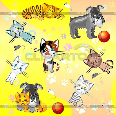 Muster mit Katzen und Hunden | Stock Vektorgrafik |ID 3081518