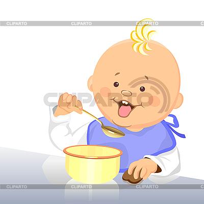 Baby isst mit einem Löffel aus einer Schüssel | Stock Vektorgrafik |ID 3081522