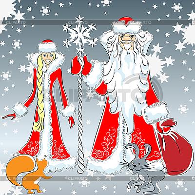 Glückliches Väterchen Frost und Schneewittchen | Stock Vektorgrafik |ID 3082237