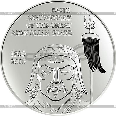 Mongolska srebro moneta z Czyngis-chana | Klipart wektorowy |ID 3104250
