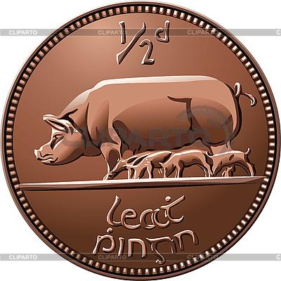 Irish halfpenny monety ze świniami | Klipart wektorowy |ID 3126625