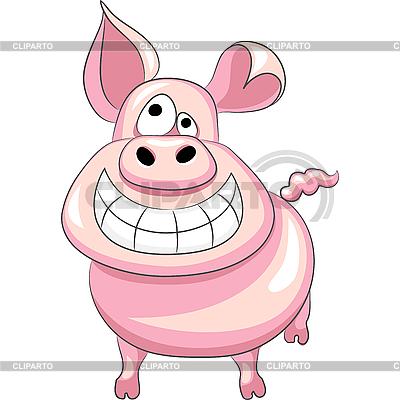 Zabawna kreskówka happy pig | Klipart wektorowy |ID 3128166