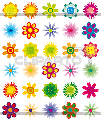 간단한 꽃의 컬렉션 | 벡터 클립 아트 |ID 3058447