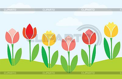 简单的朵朵郁金香 | 向量插图 |ID 3059954