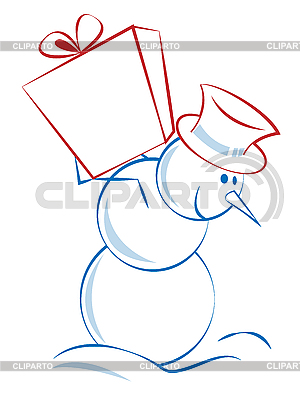 Bałwan Boże Narodzenie z prezentem | Klipart wektorowy |ID 3052504