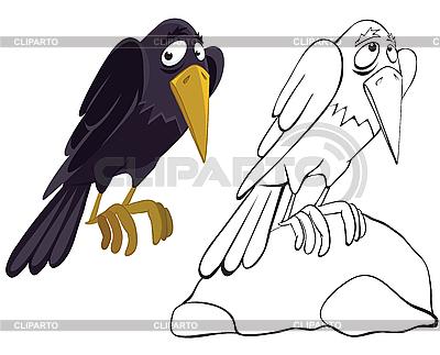 Krähe auf dem Stein | Illustration mit hoher Auflösung |ID 3052553