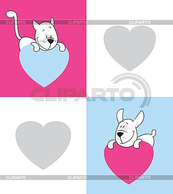 Katze und Hund. Valentinstag | Stock Vektorgrafik |ID 3052589