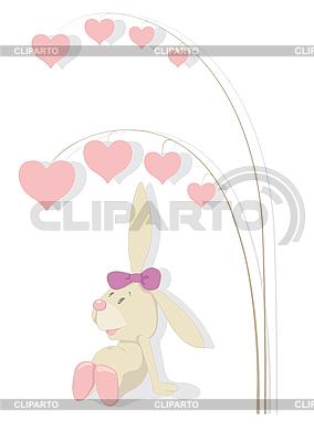 Królik i drzewa serc | Klipart wektorowy |ID 3052615
