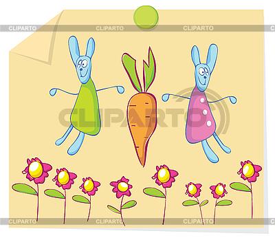 Króliki i marchewką | Klipart wektorowy |ID 3052657