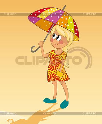 Mädchen und Sonnenschirm | Stock Vektorgrafik |ID 3052897