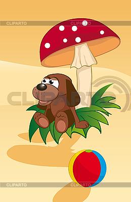 Hund unter einem Pilz | Stock Vektorgrafik |ID 3052913