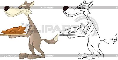 Wolf und gebratenes Huhn | Stock Vektorgrafik |ID 3052969