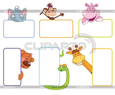 Baner klatek ze zwierzętami | Klipart wektorowy |ID 3053089