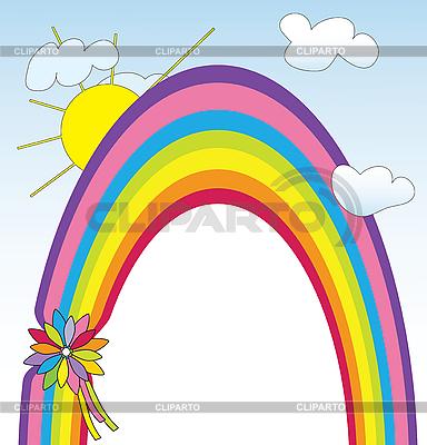 Tarjeta con el arco iris marco | Ilustración vectorial de stock |ID 3053874