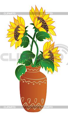 Słoneczniki w wazonie | Klipart wektorowy |ID 3054076