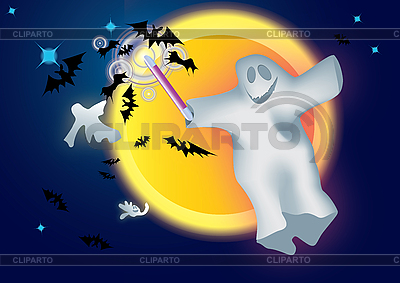Gespenst, Fledermäuse und Mond | Illustration mit hoher Auflösung |ID 3056117