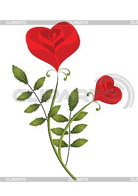 Dwa stylizowane róże | Klipart wektorowy |ID 3056922