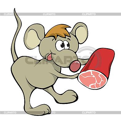 Grzeczny myszy z jedzeniem | Klipart wektorowy |ID 3056976
