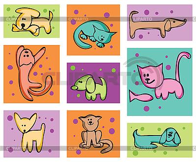 Кошки и собаки | Векторный клипарт |ID 3057068