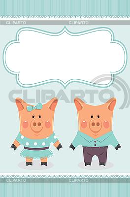 Piggies paar einladungskarte iarada