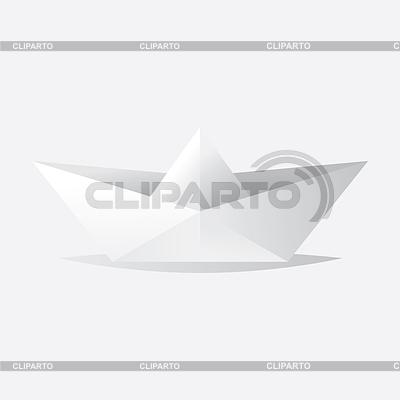 белый катер оригами - ©