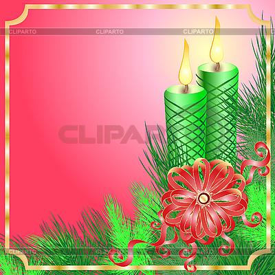 蜡烛圣诞贺卡 | 向量插图 |ID 3052303